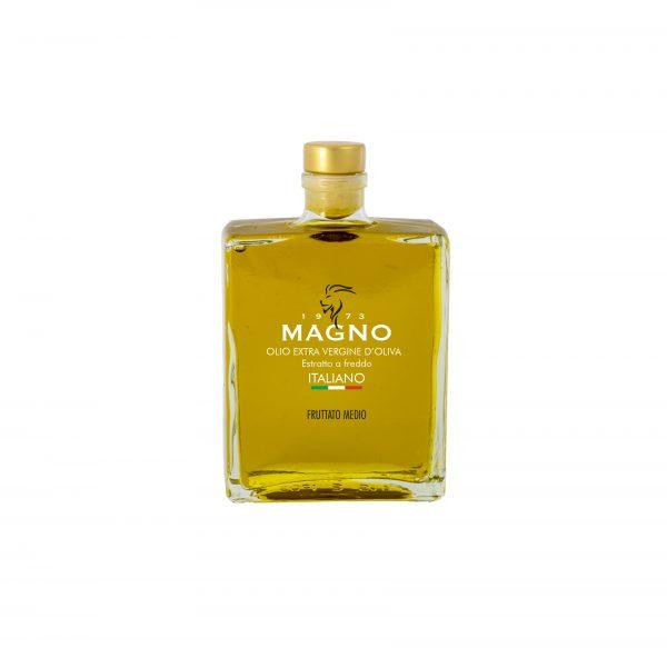 Bottiglia rettangolare olio extra vergine d'oliva magno food